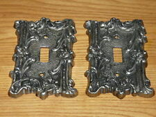 2 Vintage Thick and heavy Cast Metal Switch Covers.