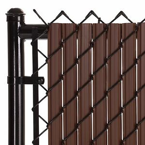 Chain Link Brown SoliTube™ Max-Privacy Slat For 8-ft Fence Bottom Lock