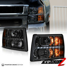 2007-2013 Chevy Silverado [SMOKE] LED SMD Front Headlights Headlamps PAIR LH+RH
