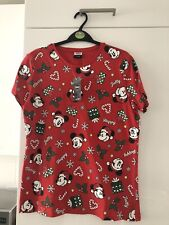 Ladies Red Mickey Mouse Christmas T-shirt Size 8-10 S Small BNWT