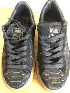 Puma Black Gold Suede Shoes Sz 37.5