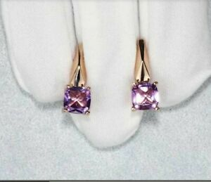 Russian Solid 14k 585 Rose Gold Amethyst  Earrings New with tags