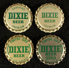 4 DIXIE GREEN/GOLD PLASTIC BEER BOTTLE CAP NEW ORLEANS, LOUISIANA CROWNS GEORGIA