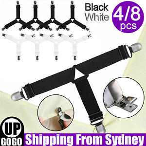 4/8Pcs Triangle Fitted Sheet Strap Clips Grippers Mattress Bed Suspenders Holder