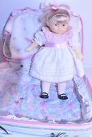 """Rare Vintage Corolle Locking Luggage with 12"""" Baby Doll and full  Layette.."""