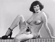 Vtg B&W 1950's Photo Girl Pinup Naughty Hangers Huge Tits Boobs Risque #922
