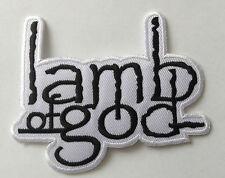 HEAVY METAL PUNK ROCK MUSIC SEW / IRON ON PATCH:- LAMB OF GOD (b) BLACK & WHITE