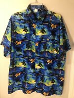 Paradise Mens L Blue Button Front Shirt Bahamas Caribbean Short Sleeve Hawaiian