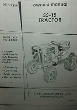 Sears SS-15 Garden Tractor & B & S hp Engine Owner & Parts (2 Manuals) 917.25381