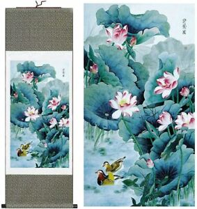 Chinese Mandarin Ducks in Lotus Pond Painting Print on Silk Scroll Wall Hanging