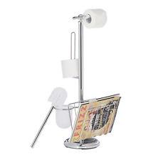 Ensemble support brosse WC porte-papier toilette dérouleur porte-revues magazine