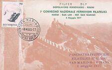 CARTOLINA SAN MARINO FERROVIERI FILATELISTI FILATELICI 1979 ANNULLO VEDUTA MONTE