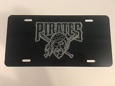 PITTSBURGH PIRATES 2 LOGO Car Tag Diamond Etched on Aluminum License Plate