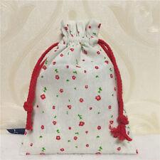 Cotton Linen Drawstring Multi-purpose Organizer Gift Bag Mini Red Flower 8123a S