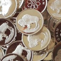 """Buffalo"" Design, Lot of 10, 1 gram .999 Fine silver bullion round, Coin, NEW"