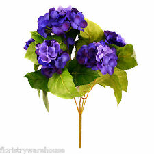 Artificial silk Dark Blue Hydrangea bush 42cm for wedding flowers or window box