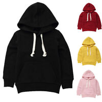 Fashion Kids Baby Girls Boys Solid Casual Hoodie Tops Hooded Sweatshirt Pullover