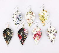Bohemia Floral Leaf  Leather Earrings Women Spring Summer Jewelry Accessories