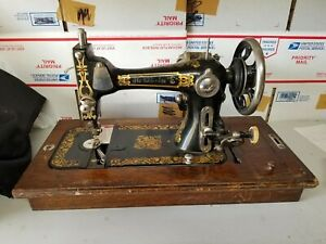 """ANTIQUE  ELDREDGE """"E"""" ROTARY SEWING MACHINE WITH  SWING AWAY MOTOR WOODEN CASE"""