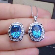 Certified Natural Sky Blue Topaz 925 Sterling Silver Ring Pendant Necklace Set