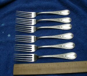 Set 6 Early DURGIN Sterling AESTHETIC Pattern LUNCHEON FORKS-Ca 1880-Mono A