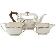 Sterling Silver Three Piece Tea Set - Art Deco Style - Antique George V