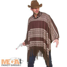 Western Cowboy Poncho Mens Fancy Dress Texan Wild West Adults Costume Accessory