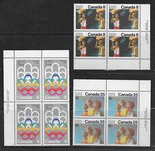 CANADA , 1976 , 1976 OLYMPICS , SPORTS , 3 BLOCKS OF 4 PERF , MNH