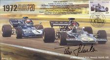 1972 JPS Lotus 72D, Tyrell 003 Marcas Escotilla F1 Cubierta Firmado Tim Schenken