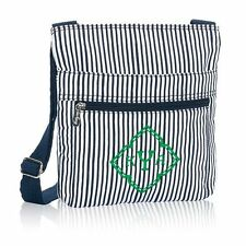 Thirty-One Organizing Shoulder Bag in Navy Pinstripe - **NIP** Retired