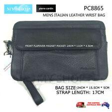Pierre Cardin Genuine Leather Wrist Bag Men's Organiser PC8865 Black