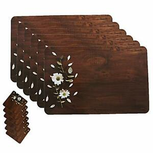 Wooden Design Floral PVC Dining Table Place Mat Set with Tea Coasters, Set Of 6