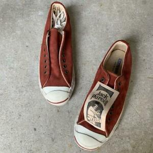 Converse Men's Sneakers Jack Percell Size 7 1/2 Burgundy Suede Made in USA F/S