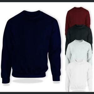 Plain Sweatshirt Classic Fleece Casual Tops Size Pullover Jumper Adults Unisex
