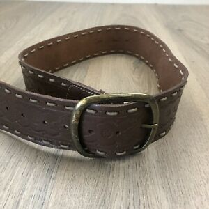 Jag Women's Belt Stamped Leather Sz S/M Brown Boho With Brass Buckle