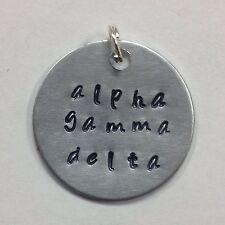 Sorority Greek Alpha Gamma Delta Hand Stamped Charm Ann Peden,AGD big little