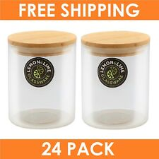 24 x Round Glass Jars Large 750ml Food Storage Jar Canister Container Wooden Lid