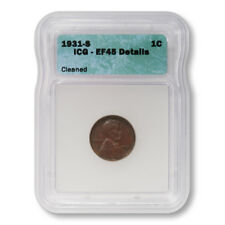 USA Lincoln Wheat Cent 1c 1931 S ICG EF45 Details Cleaned Key Date Penny