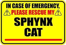In Case Of Emergency Rescue My Sphynx Cat Sticker