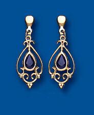 Unique Wishlist 9ct Yellow Gold Sapphire Victorian Style Drops AP6855