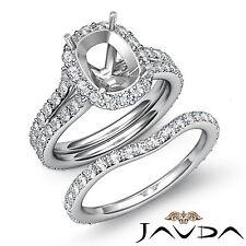 Cushion Diamond Semi Mount Engagement Wedding Ring Bridal Set Platinum 950 1.8Ct