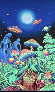 UV Wall Hanging Trippy Backdrop Spiritual Tapestry DMT LSD Fluorescent Art Neon