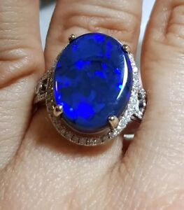 Opal Ring 14K Gold Natural Solid AUSTRALIAN 6.87 cts BLACK OPAL RING SIZE 9