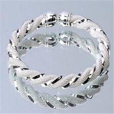 Solid 925Silver Twist Distort Bangle/Bracelet