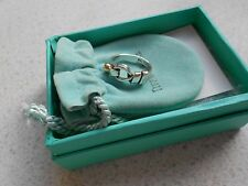 Exquisite Tiffany & Co Argento Sterling & 18k oro love knot hook Anello Taglia 6.5.