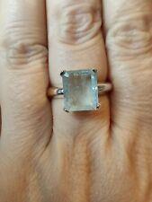 🍹5.2ct Natural Emerald octogan cut Aquamarine ring Solid Sterling silver vtg