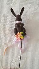 """Vintage Faux Chocolate Bunny Rabbit Florist Pick, Crafts, 5"""" With 7""""Pick, Easter"""