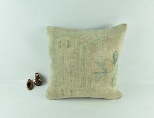 Oushak Kilim Pillow Cover 20x20 Handknotten Vintage Sofa Cushion Cover A2781