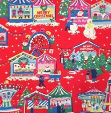 Cath Kidston Christmas Fabric Red Christmas Fairground Cotton Duck Canvas Weight