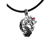 John Hardy Naga Ruby & Black Sapphires Sterling Silver Dragon Pendant & Necklace
